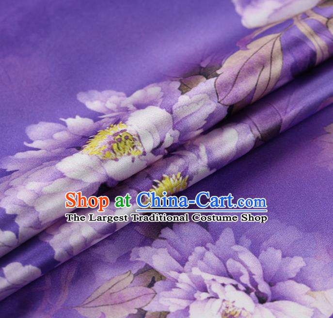 Traditional Chinese Satin Classical Peony Pattern Design Purple Watered Gauze Brocade Fabric Asian Silk Fabric Material