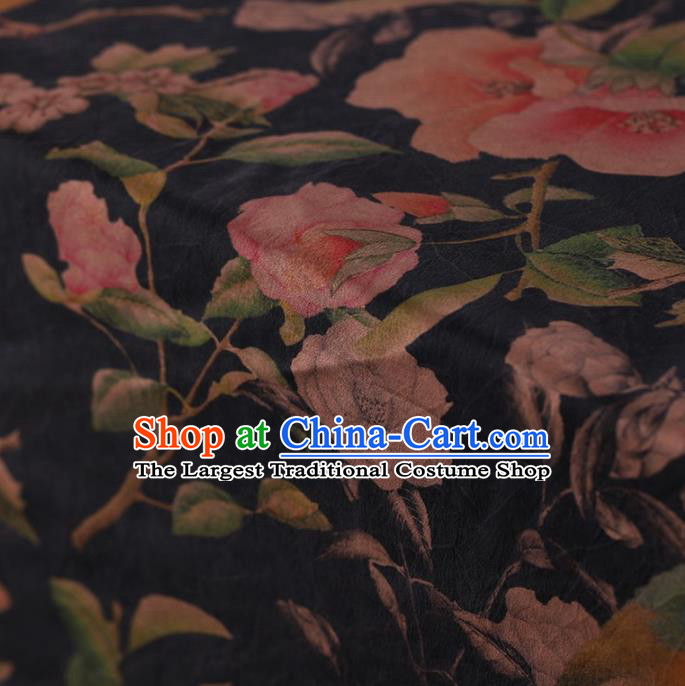 Traditional Chinese Satin Classical Peach Flowers Pattern Design Navy Watered Gauze Brocade Fabric Asian Silk Fabric Material