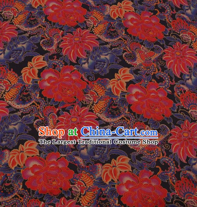 Traditional Chinese Satin Classical Lotus Pattern Design Black Watered Gauze Brocade Fabric Asian Silk Fabric Material