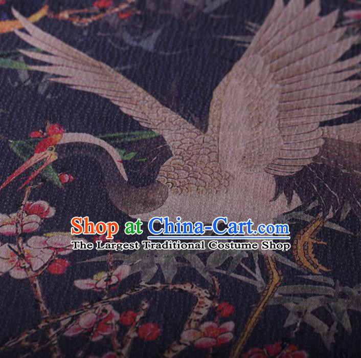 Traditional Chinese Satin Classical Wintersweet Crane Pattern Design Navy Watered Gauze Brocade Fabric Asian Silk Fabric Material
