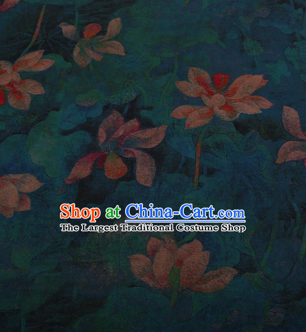 Traditional Chinese Satin Classical Lotus Pattern Design Blue Watered Gauze Brocade Fabric Asian Silk Fabric Material