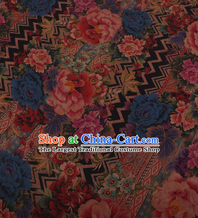Traditional Chinese Satin Classical Peony Pattern Design Watered Gauze Brocade Fabric Asian Silk Fabric Material