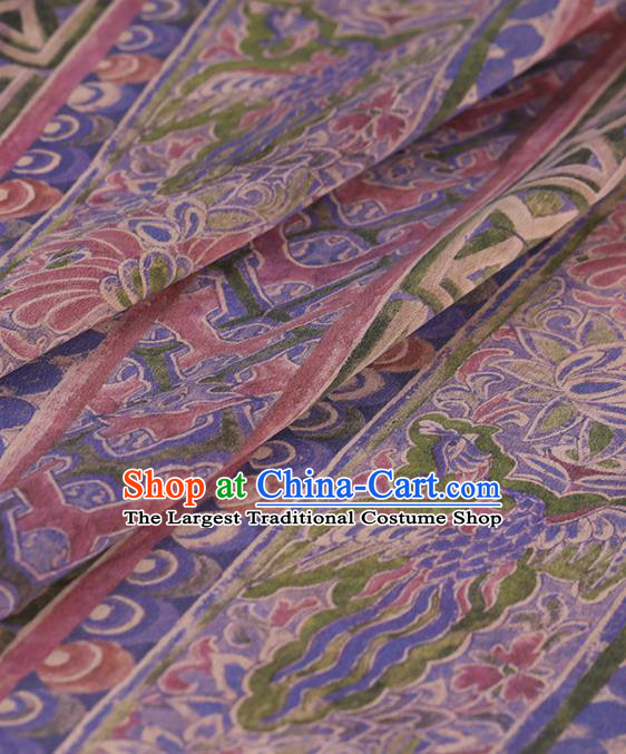 Traditional Chinese Satin Classical Pattern Design Lilac Watered Gauze Brocade Fabric Asian Silk Fabric Material