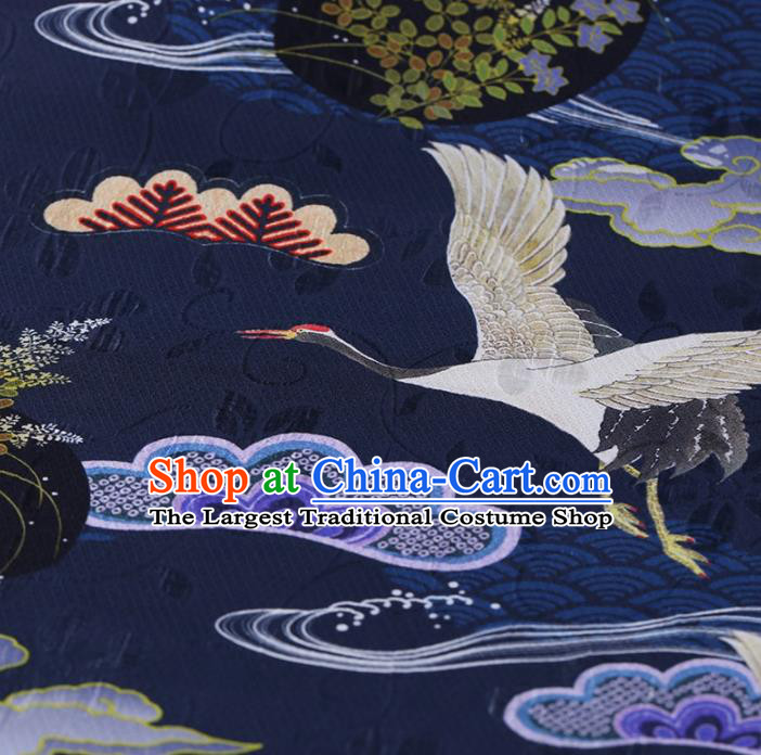 Traditional Chinese Satin Classical Cranes Pattern Design Navy Watered Gauze Brocade Fabric Asian Silk Fabric Material