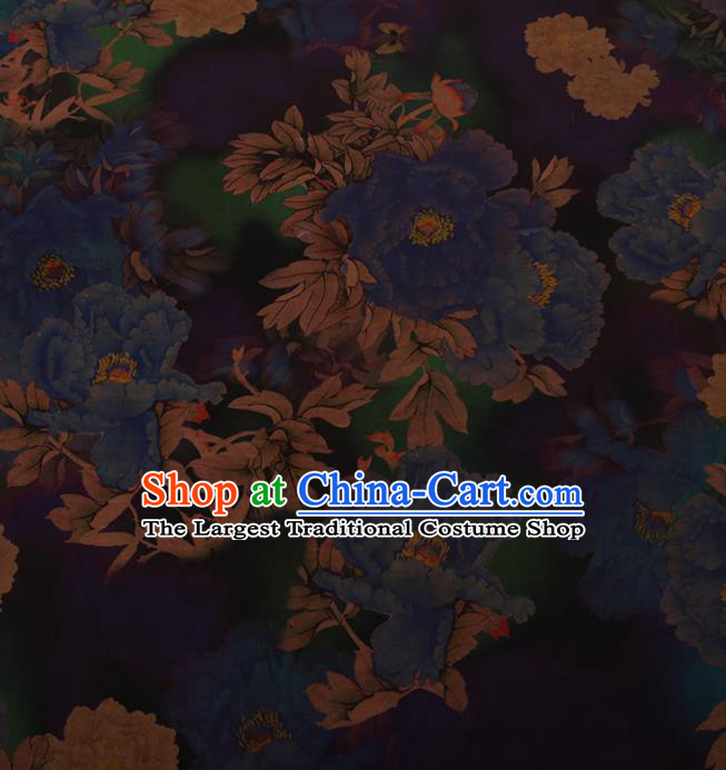 Traditional Chinese Satin Classical Blue Peony Pattern Design Watered Gauze Brocade Fabric Asian Silk Fabric Material