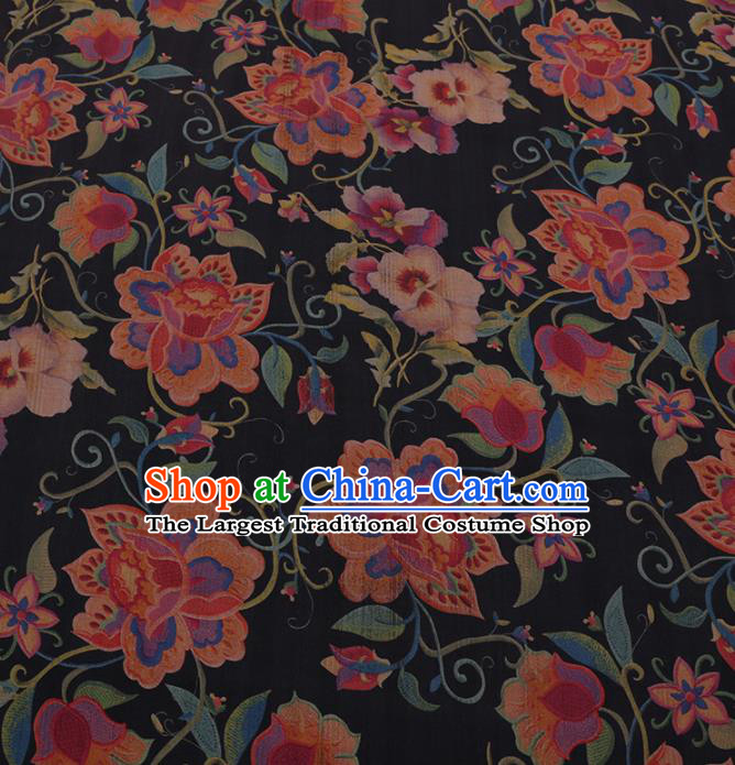 Traditional Chinese Satin Classical Twine Flowers Pattern Design Navy Watered Gauze Brocade Fabric Asian Silk Fabric Material