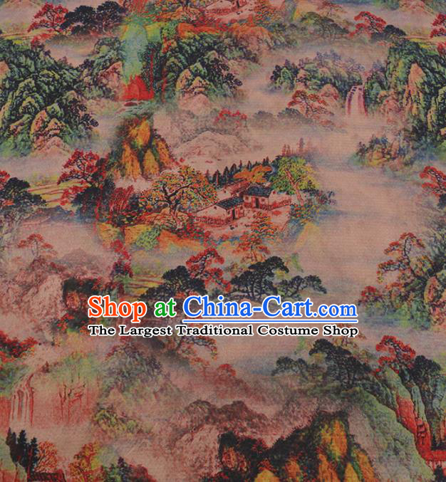 Traditional Chinese Satin Classical Landscape Pattern Design Watered Gauze Brocade Fabric Asian Silk Fabric Material