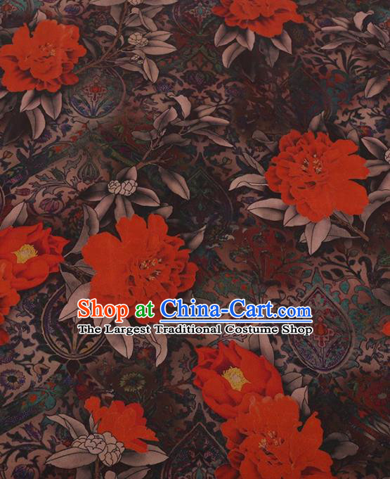 Traditional Chinese Satin Classical Red Peony Pattern Design Watered Gauze Brocade Fabric Asian Silk Fabric Material