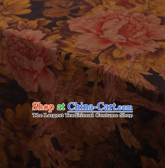 Traditional Chinese Classical Peony Pattern Design Brown Satin Watered Gauze Brocade Fabric Asian Silk Fabric Material