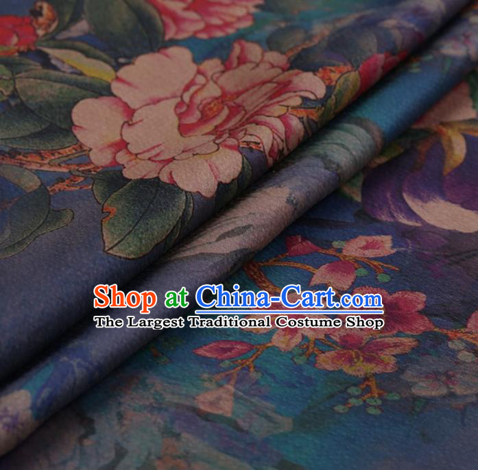 Traditional Chinese Classical Peony Pattern Design Blue Satin Watered Gauze Brocade Fabric Asian Silk Fabric Material