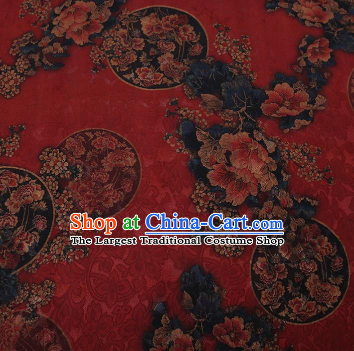 Traditional Chinese Satin Classical Round Peony Pattern Design Red Watered Gauze Brocade Fabric Asian Silk Fabric Material