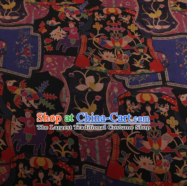 Traditional Chinese Classical Phoenix Pattern Design Black Satin Watered Gauze Brocade Fabric Asian Silk Fabric Material