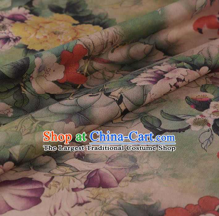 Chinese Traditional Peony Flowers Pattern Design Satin Watered Gauze Brocade Fabric Asian Silk Fabric Material