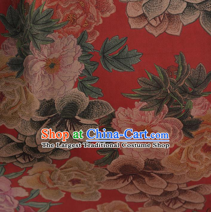Traditional Chinese Classical Embroidered Peony Pattern Design Red Satin Watered Gauze Brocade Fabric Asian Silk Fabric Material