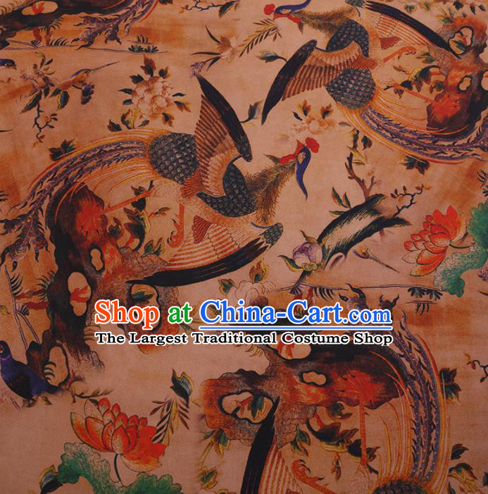 Traditional Chinese Satin Classical Phoenix Lotus Pattern Design Khaki Watered Gauze Brocade Fabric Asian Silk Fabric Material