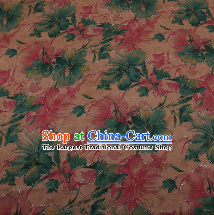 Traditional Chinese Classical Pink Flowers Pattern Design Satin Watered Gauze Brocade Fabric Asian Silk Fabric Material