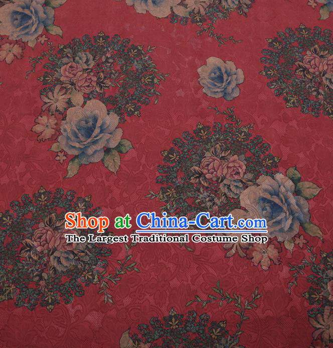 Traditional Chinese Satin Classical Roses Pattern Design Red Watered Gauze Brocade Fabric Asian Silk Fabric Material