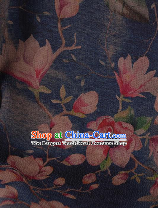 Traditional Chinese Classical Magnolia Pattern Design Blue Satin Watered Gauze Brocade Fabric Asian Silk Fabric Material