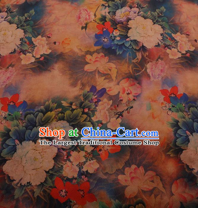 Traditional Chinese Classical Peony Lotus Pattern Design Satin Watered Gauze Brocade Fabric Asian Silk Fabric Material