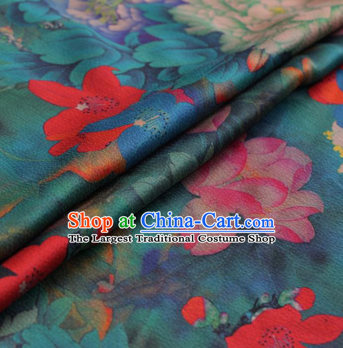 Traditional Chinese Classical Lotus Peony Pattern Design Green Satin Watered Gauze Brocade Fabric Asian Silk Fabric Material