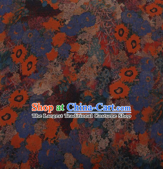 Traditional Chinese Classical Sunflowers Pattern Design Blue Satin Watered Gauze Brocade Fabric Asian Silk Fabric Material