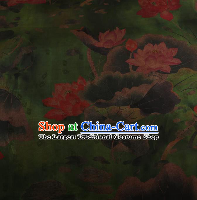Traditional Chinese Classical Lotus Pattern Design Green Satin Watered Gauze Brocade Fabric Asian Silk Fabric Material