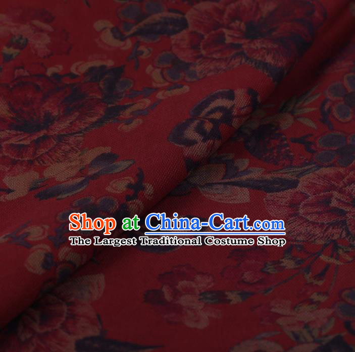 Chinese Traditional Peony Butterfly Pattern Design Red Satin Watered Gauze Brocade Fabric Asian Silk Fabric Material