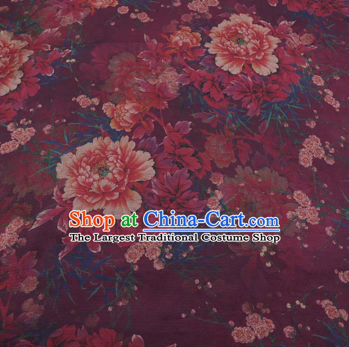 Chinese Traditional Peony Pattern Design Wine Red Satin Watered Gauze Brocade Fabric Asian Silk Fabric Material