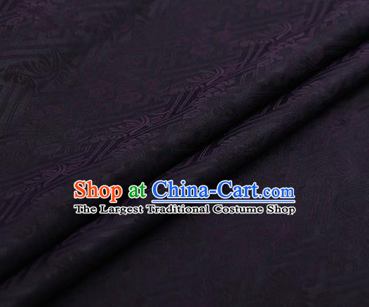 Chinese Traditional Chrysanthemum Pattern Design Purple Satin Watered Gauze Brocade Fabric Asian Silk Fabric Material