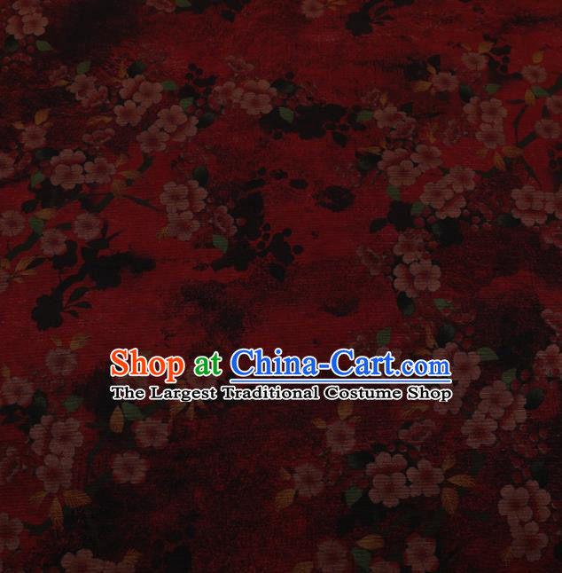 Traditional Chinese Classical Peach Flowers Pattern Design Red Satin Watered Gauze Brocade Fabric Asian Silk Fabric Material