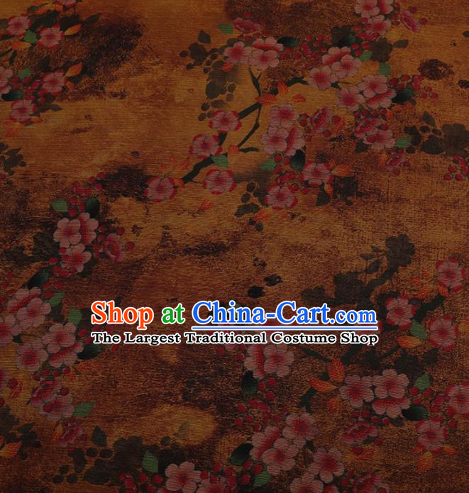 Traditional Chinese Classical Peach Flowers Pattern Design Yellow Satin Watered Gauze Brocade Fabric Asian Silk Fabric Material
