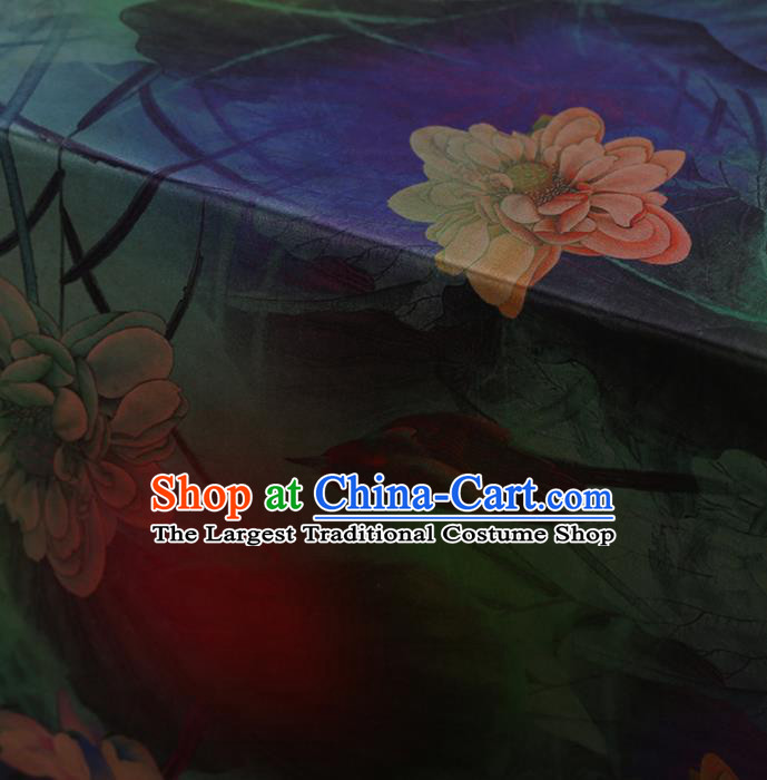 Traditional Chinese Classical Lotus Bird Pattern Design Satin Watered Gauze Brocade Fabric Asian Silk Fabric Material