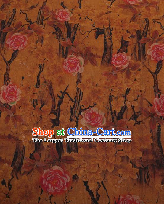 Traditional Chinese Classical Camellia Pattern Design Yellow Satin Watered Gauze Brocade Fabric Asian Silk Fabric Material