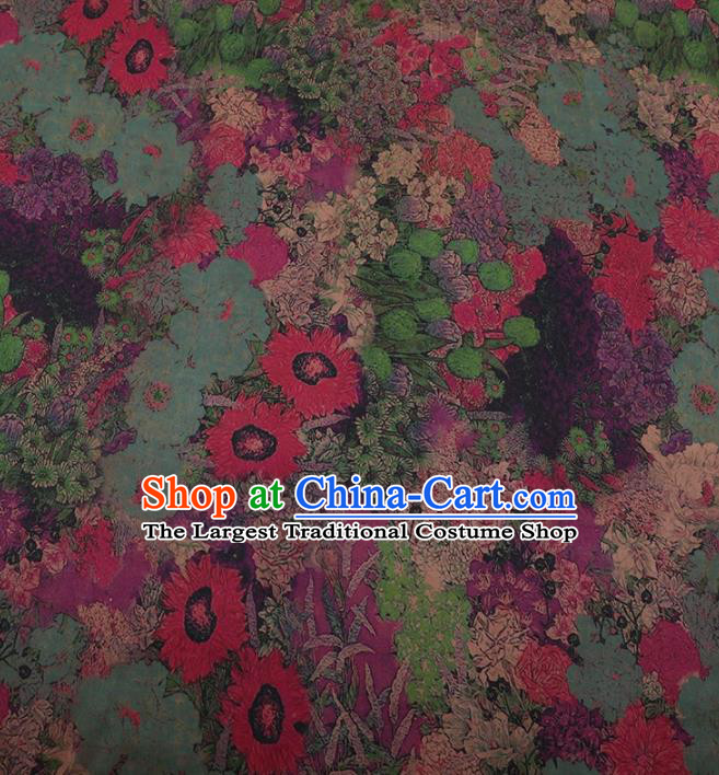 Traditional Chinese Classical Sunflowers Pattern Design Green Satin Watered Gauze Brocade Fabric Asian Silk Fabric Material