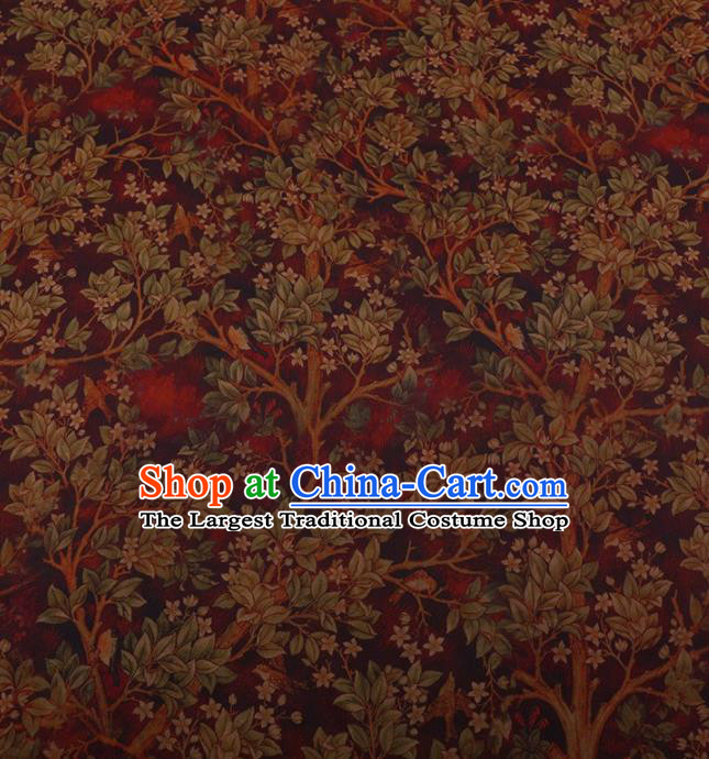 Traditional Chinese Classical Branch Leaf Pattern Design Wine Red Satin Watered Gauze Brocade Fabric Asian Silk Fabric Material