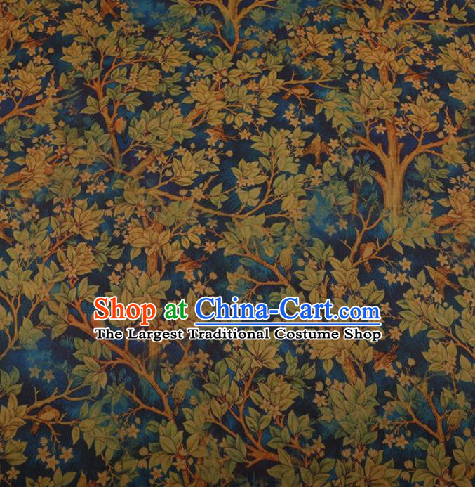 Traditional Chinese Classical Branch Leaf Pattern Design Blue Satin Watered Gauze Brocade Fabric Asian Silk Fabric Material
