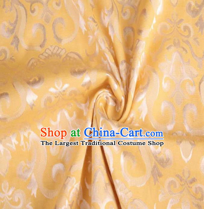 Chinese Classical Didymaotus Pattern Design Yellow Brocade Traditional Hanfu Silk Fabric Tang Suit Fabric Material