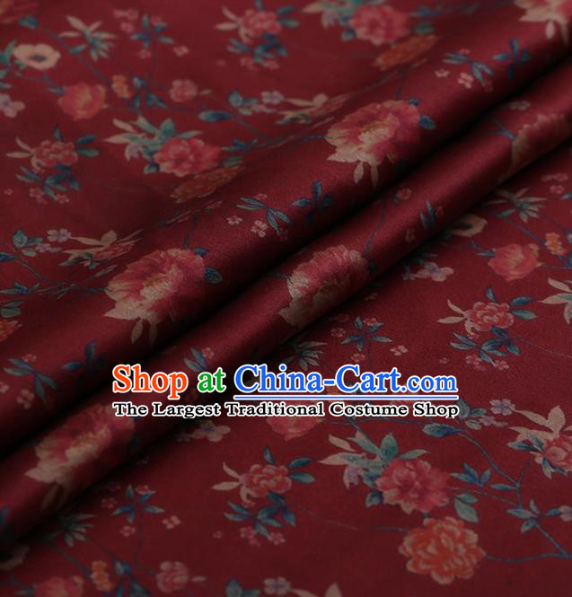 Traditional Chinese Classical Changmi Pattern Design Red Satin Watered Gauze Brocade Fabric Asian Silk Fabric Material