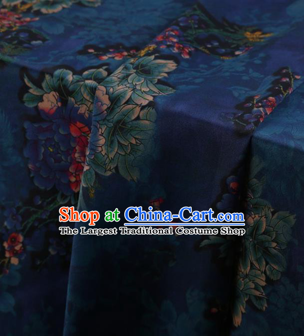 Traditional Chinese Classical Peony Pattern Design Deep Blue Satin Watered Gauze Brocade Fabric Asian Silk Fabric Material