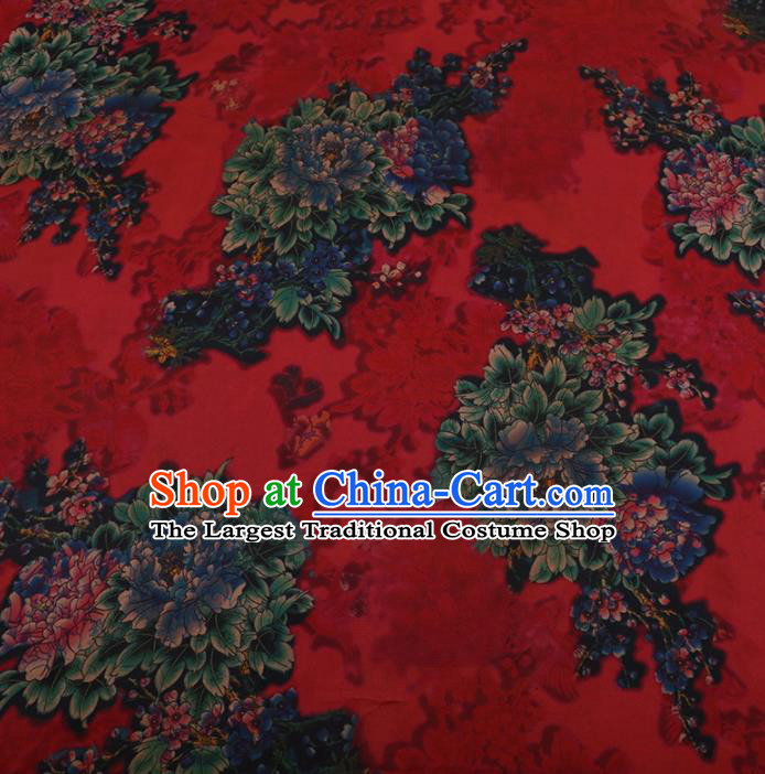 Traditional Chinese Classical Peony Pattern Design Red Satin Watered Gauze Brocade Fabric Asian Silk Fabric Material
