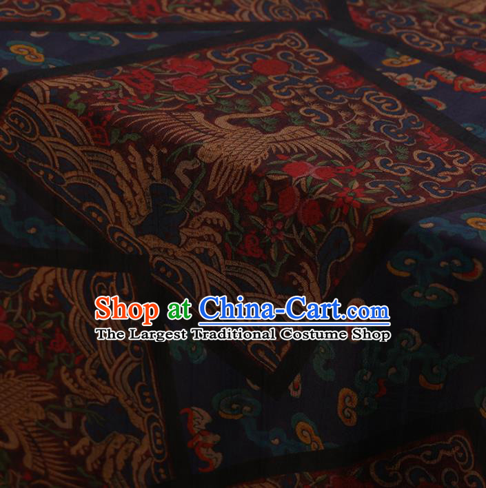 Traditional Chinese Classical Cranes Pattern Design Navy Satin Watered Gauze Brocade Fabric Asian Silk Fabric Material