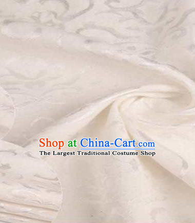 Chinese Classical Didymaotus Pattern Design White Brocade Traditional Hanfu Silk Fabric Tang Suit Fabric Material