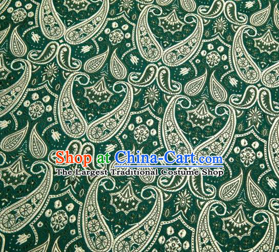 Chinese Classical Loquat Flower Pattern Design Deep Green Brocade Asian Traditional Hanfu Silk Fabric Tang Suit Fabric Material