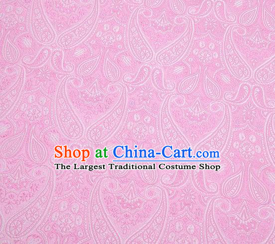 Chinese Classical Loquat Flower Pattern Design Pink Brocade Asian Traditional Hanfu Silk Fabric Tang Suit Fabric Material
