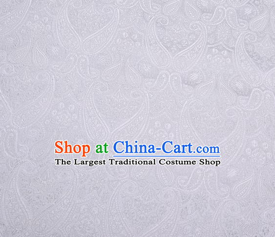 Chinese Classical Loquat Flower Pattern Design White Brocade Asian Traditional Hanfu Silk Fabric Tang Suit Fabric Material