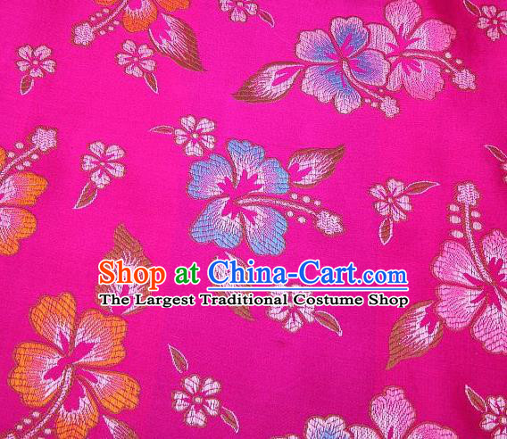 Chinese Classical Flower Pattern Design Rosy Brocade Asian Traditional Hanfu Silk Fabric Tang Suit Fabric Material