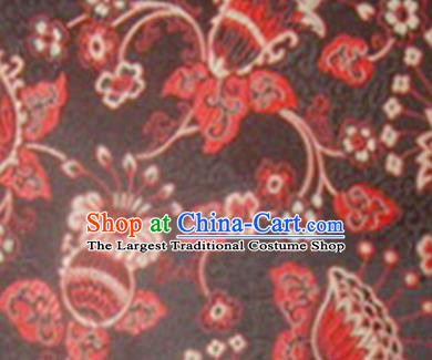 Chinese Classical Lyonia Pattern Design Black Brocade Asian Traditional Hanfu Silk Fabric Tang Suit Fabric Material