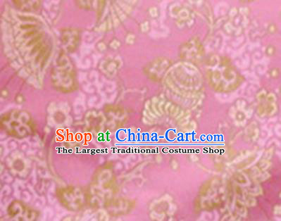 Chinese Classical Lyonia Pattern Design Pink Brocade Asian Traditional Hanfu Silk Fabric Tang Suit Fabric Material