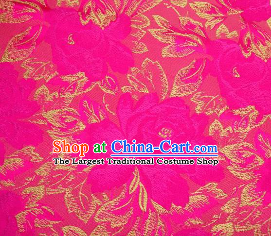 Chinese Classical Peony Flowers Pattern Design Rosy Brocade Asian Traditional Hanfu Silk Fabric Tang Suit Fabric Material