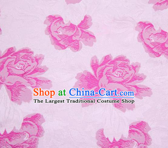 Chinese Classical Peony Flowers Pattern Design Pink Brocade Asian Traditional Hanfu Silk Fabric Tang Suit Fabric Material